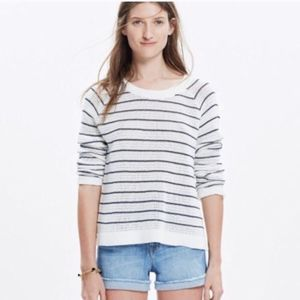 Madewell white with navy stripe sweater.